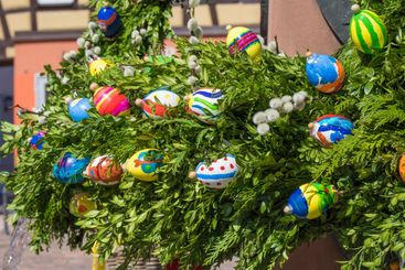 Easter decoration at a fountain