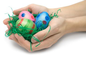 Holding Three Easter Eggs