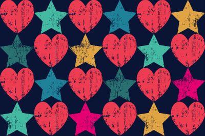 Seamless retro pattern. Texture with threadbare hearts...
