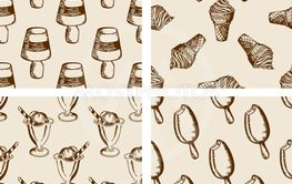 Vintage seamless patterns with ice cream