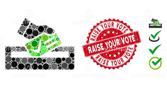 Mosaic Your Vote Icon with Distress Raise Your Vote Stamp