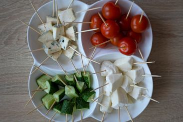 Tomatoes, Cucumbers, Cheese Mocarella and Cheese with mold