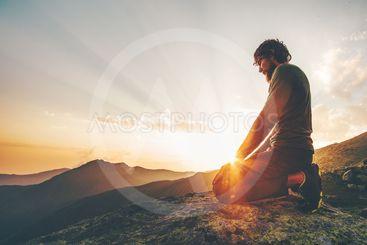man meditation praying