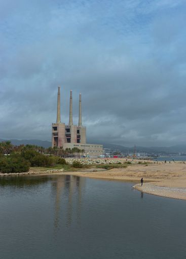 Landscape with an old disused thermal power station for...
