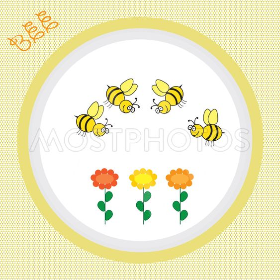 colorful background with flowers and bee