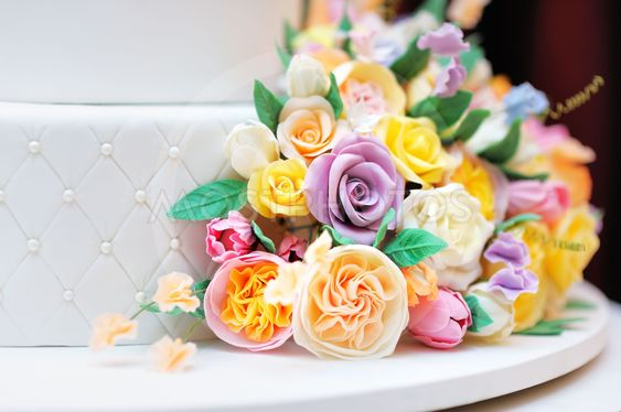 Close up photo of delicious wedding or birthday cake