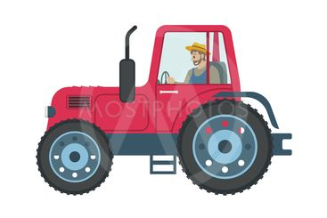 Tractor Man Driving Car Icon Vector Illustration