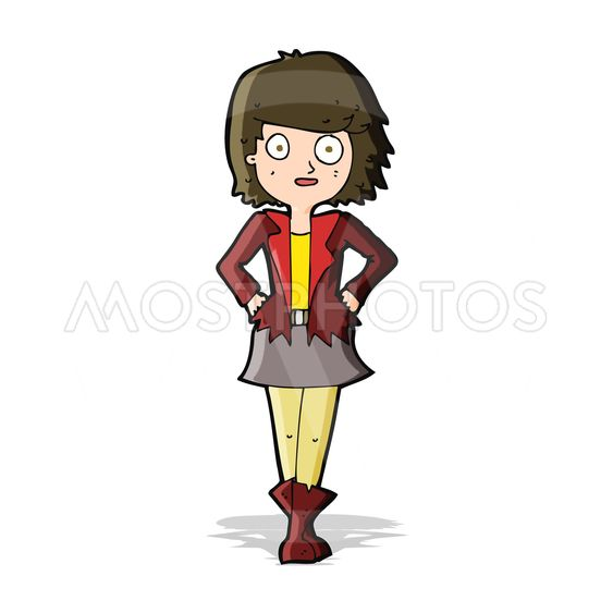 cartoon girl in jacket