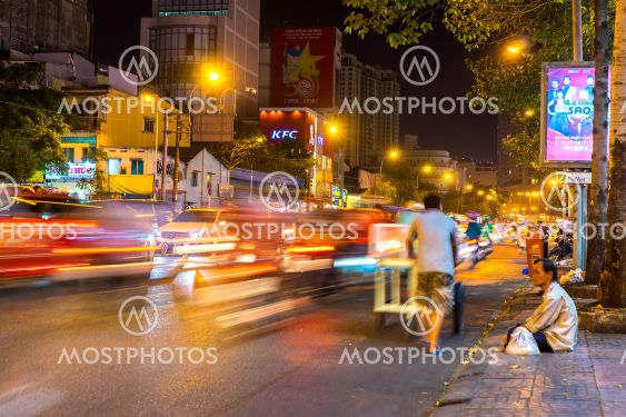 View of a busy night street in Ho Chi Minh City