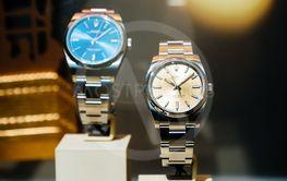 Luxury Swiss watch Rolex in showcase window Official Dealer