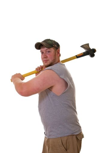 Scruffy Man with Axe