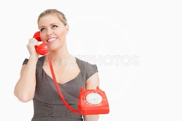 Woman calling with someone at a phone