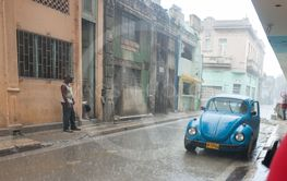Heavy rain in street of Havana