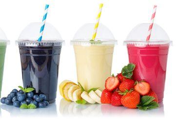 Set of fruit smoothies fruits orange juice drink straw...