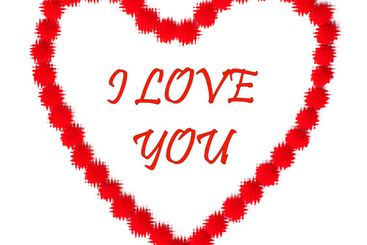 Valentine day. Red text I love you in red heart