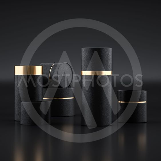 Mockup of open and closed paper can tubes