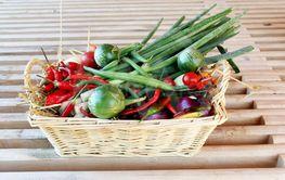 Wicker basket full of Garden Produce