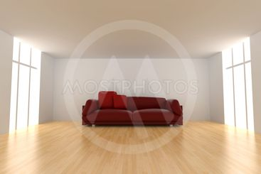 Red Sofa in an empty room