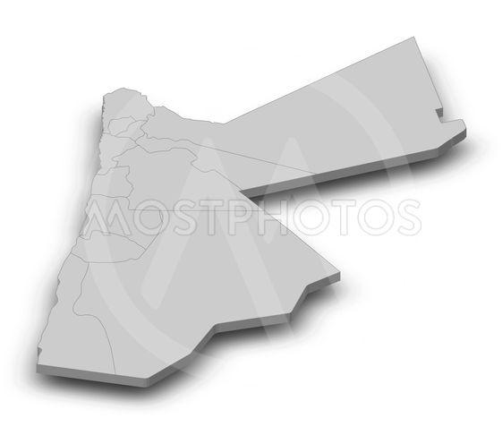 Map - Jordan - 3D-Illustration