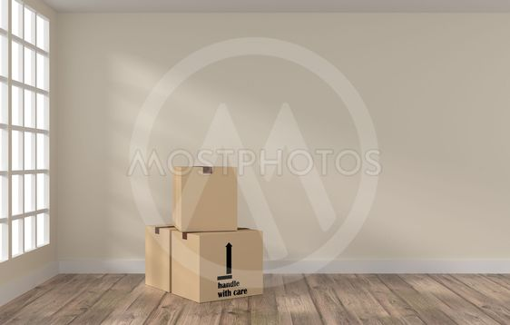Room with three cardboard boxes