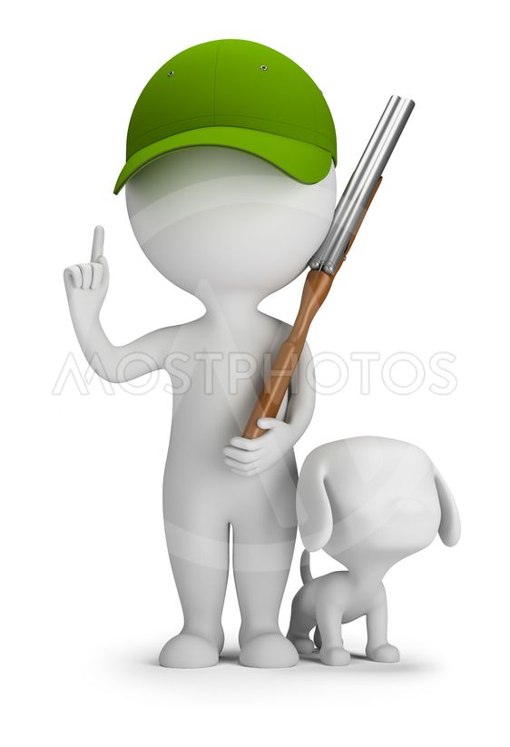 3d small people - hunter with a gun and a dog