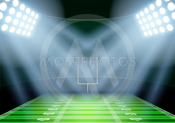 Background for posters night american football stadium in...