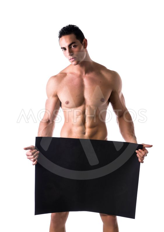 Naked Man Holding A Blank Banner Stock Photo | Thinkstock