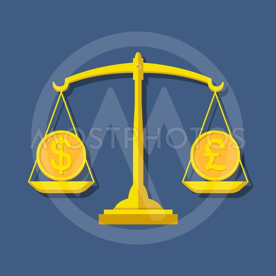 Scales with Dollar and Pound Sterling symbols. Foreign...