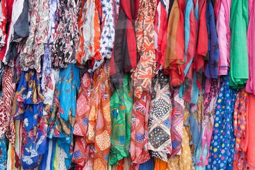 Colorful clothes for sale at a market
