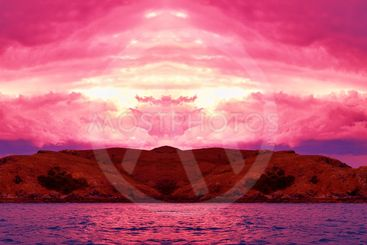Island Sunset Panorama.