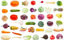 collage from various fresh vegetables isolated
