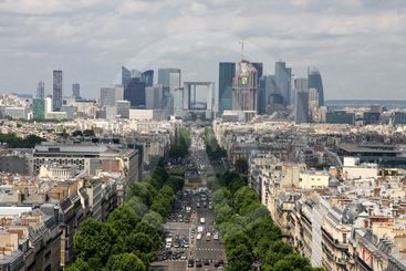 Aerial view of Paris Champs Elysees