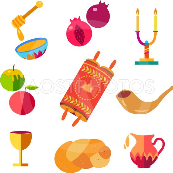 Icons set Rosh Hashanah greeting card patter Jewish New...