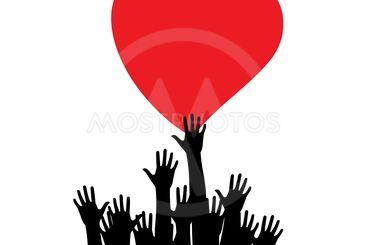 Hands with heart. Raised hands volunteering vector...