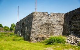 Fort Ticonderoga, fort headquarters, stone walls and...