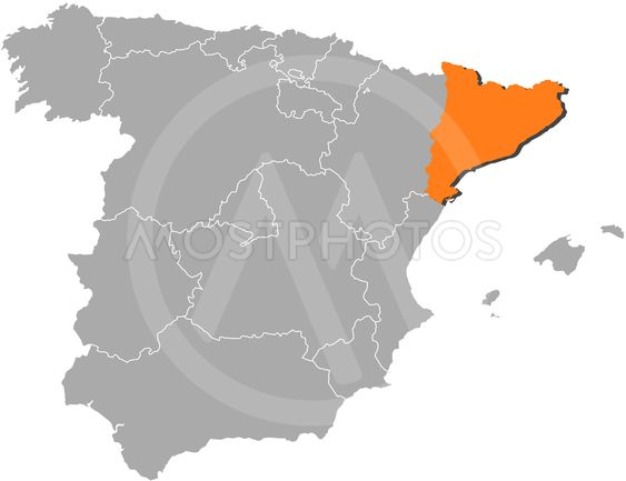 Map Of Spain With Catalonia Highlighted.Map Of Spain Catalonia Hig By Steffen Hammer Mostphotos