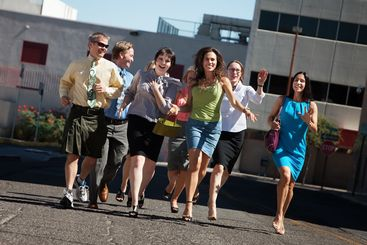 Business people running
