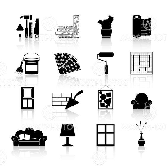 Interior Design Icons Black