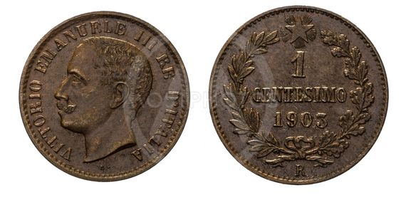 One 1 cent Lire Copper Coin 1903 Value Umberto I Kingdom...