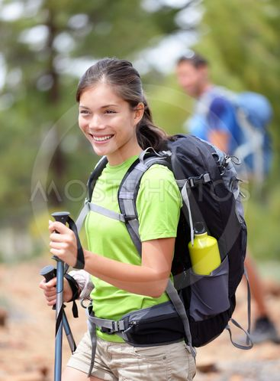 Hiking woman happy