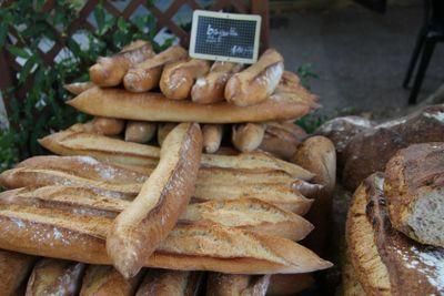Fresh baguettes at a market