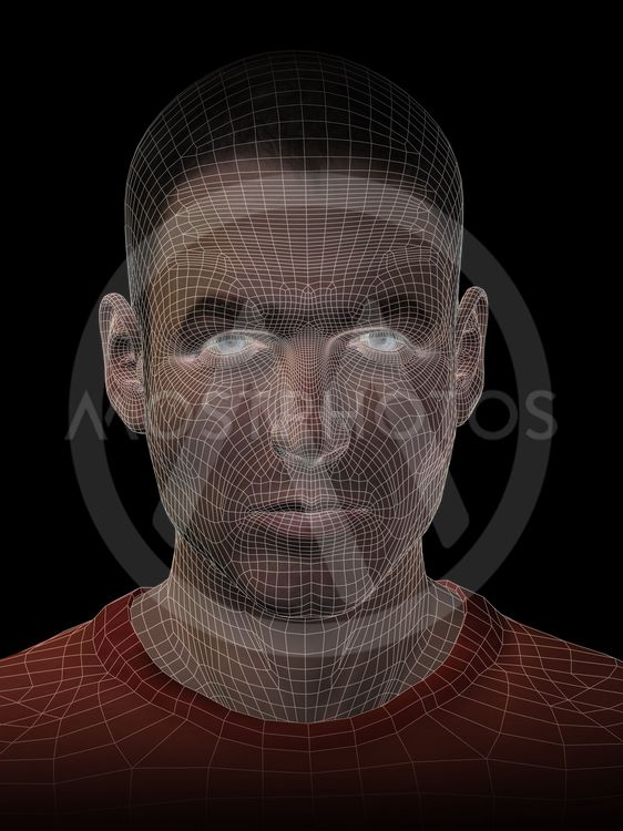 High resolution concept or conceptual 3D wireframe human...