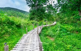 Bamboo bridge Boon Ko Ku So at Pai; Thailand