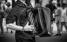 hands of accordionist playing accordion in...