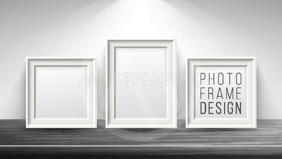 Realistic Blank Picture Frame Vector. Light Wood and Dark...