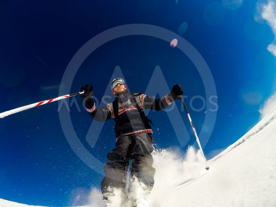 Skiing on powder snow
