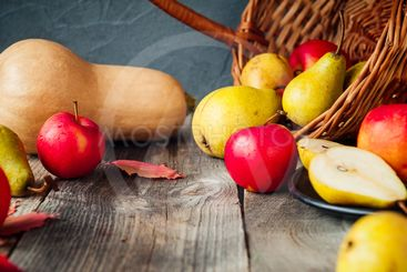 Harvest or Thanksgiving background with autumnal fruits...