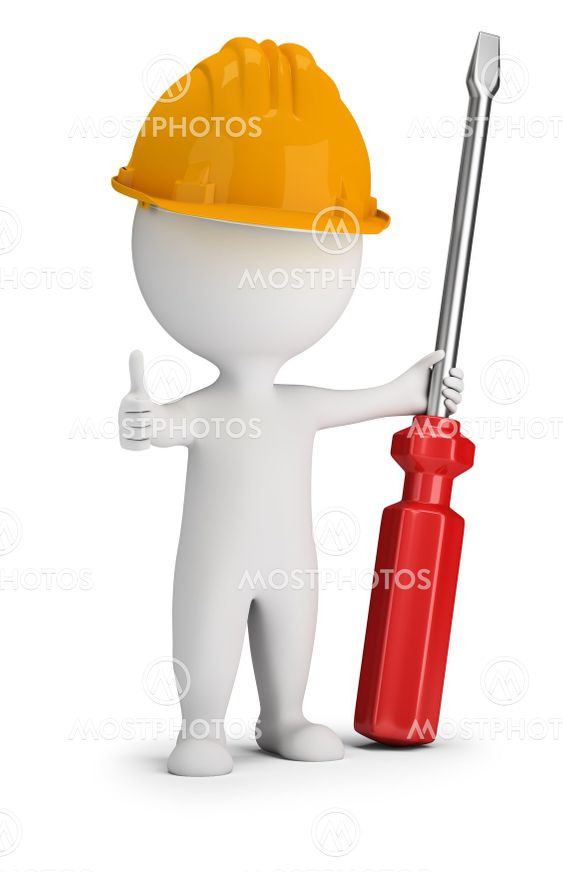 3d small people - repairman with a large screwdriver