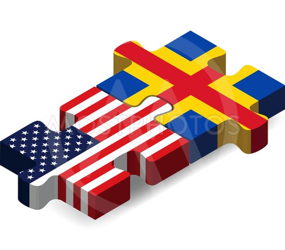 USA and Aaland Islands Flags in puzzle