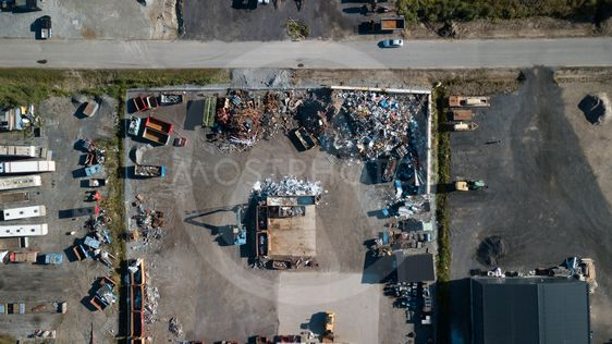 Recycling iron on a scrap yard from above